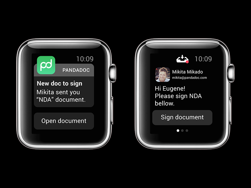 PandaDoc for Apple Watch apple watch watch apple ui inbox alert