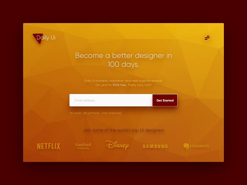 Landing page redesign - DailyUI redesign lowpoly 100days landing design ui dailyui