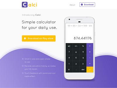 Calci - Landing Page Design andriod interface landing page ux ui purple app landing