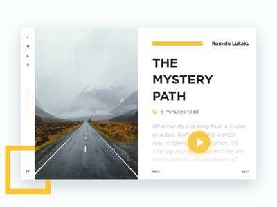 The Mystery Road blog post white design ui clean card