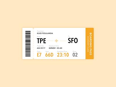Boarding pass design ui day024 dailyui pass boarding