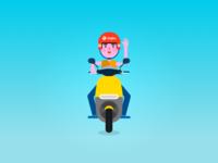 Waffles boy riding a gogoro!