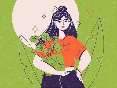 GIRL WITH PLANT ecology plants procreate illustrator digital art texture dtiys colorful illustration graphic design flat design children character business branding