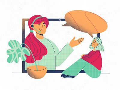 ONLINE CONSULTATION advertising web app minimalist texture ui illustration graphic design flat design children character business branding