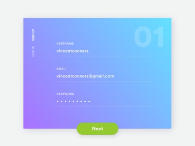 Daily UI Challenge 001 - Signup gradient sign up daily ui ui daily form login