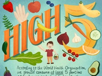 High 5 Healthy Eating Food Infographic Illustration