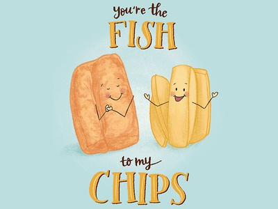 You're the Fish to My Chips Food Pair Love Illustration