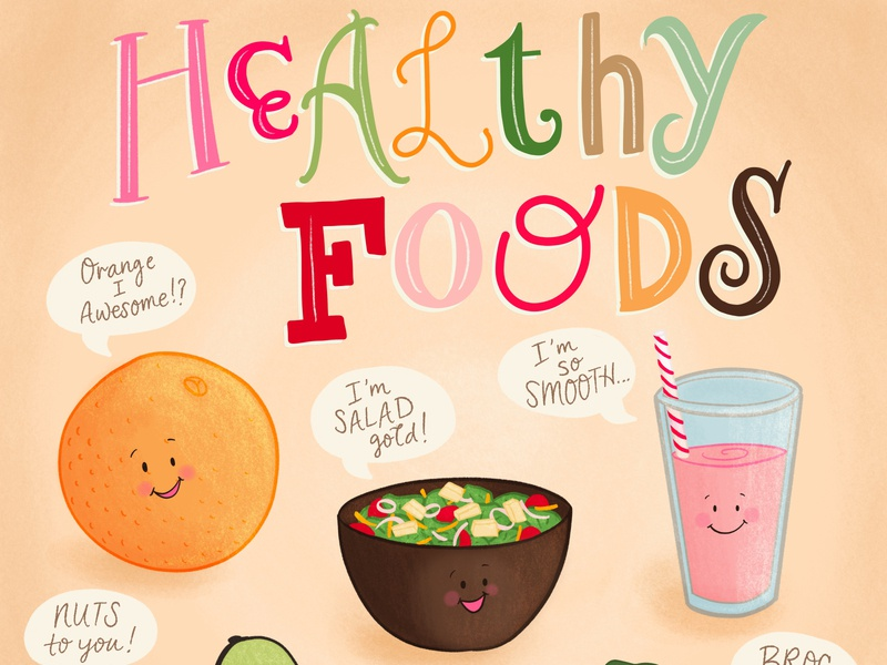 Healthy Foods Illustration and Lettering (with puns)