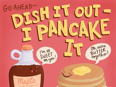 Pancake Day - Pancake Puns and Lettering Food Illustration handlettered lettering illustration lettering art handdrawn cute illustration cute art pun illustration food pun food illustration food and drink food pancakes pancake