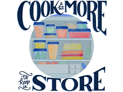 Cook More To Store Food Waste Editorial Illustration food waste editorial illustration editorial art editorial food editorial food industry food and drink hand-lettering food illustration handlettered lettering illustration handdrawn