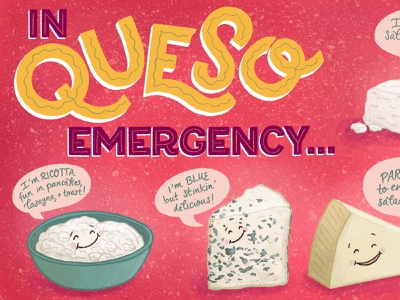 In Queso Emergency Cheese Pun Illustration 1 cheese pun food pun puns foodie food and drink cute illustration lettering art handlettered lettering illustration food illustration food pun cheese