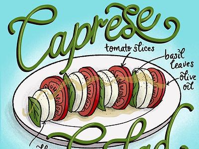 Caprese Salad Featured Food Illustration editorial illustration editorial art editorial food and drink foodie food handdrawn food illustration handlettered lettering illustration
