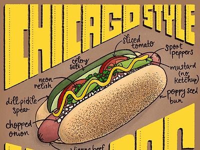 Chicago Hot Dog Featured Food Illustration and Lettering Artwork chicago art hot dog art hot dog illustration hot dogs recipe chicago hot dog chicago food and drink foodie food hot dog type art food illustration handlettered lettering handdrawn illustration