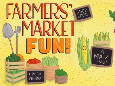Farmers Market Fun Food Illustration and Lettering Artwork 1 food and drink lettering art hand-lettering food lettering handlettered cute illustration cute food vegetables food puns farmers market food illustration lettering illustration