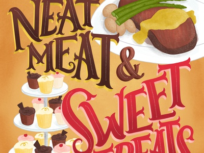 Neat Meat and Sweet Treats Lettering Food Illustration food and drink lettering art pun type art sweets sweet meat food lettering food illustration handdrawn lettering illustration