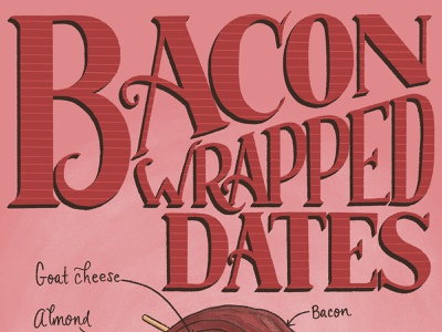Bacon Wrapped Dates Featured Food Lettering Illustration recipe illustration recipe food and drink lettering art type art typography food illustration illustration lettering