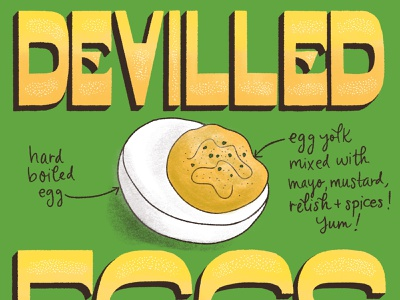 Devilled Eggs Featured Foods Illustration and Lettering editorial art recipe illustration editorial illustration recipe food and drink hand-lettering type art typography food illustration lettering art lettering illustration