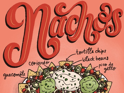 Nachos Featured Food Illustration and Lettering Art food editorial editorial art editorial illustration recipe illustration recipe type art hand-lettering food illustration typography lettering lettering art illustration