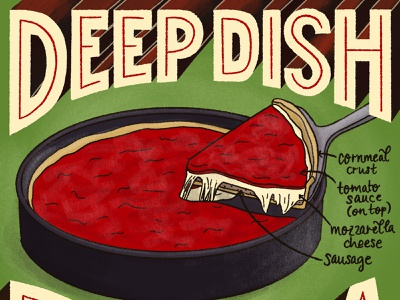 Deep Dish Pizza Featured Food Illustration food editorial editorial art editorial illustration recipe illustration recipe pizza food and drink hand-lettering handlettered typography lettering art food illustration lettering illustration