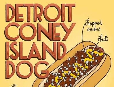 Detroit Coney Island Dog Lettering Food Illustration art deco recipe illustration recipe hot dog food lettering art food illustration handlettered lettering