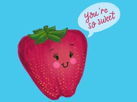 Strawberry Sweet Pun Illustration