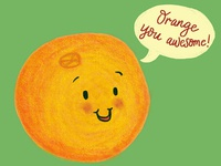 Orange Awesome Pun Illustration
