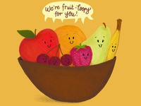 Fruit Bowl Food Pun Illustration