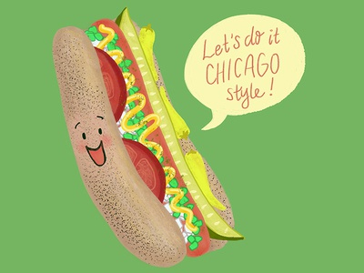 Chicago Style Hot Dog Cute Pun Illustration