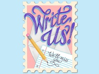 Write Us Moving Announcement Lettering Illustration
