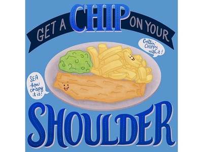 British Food Puns - Fish and Chips illustration