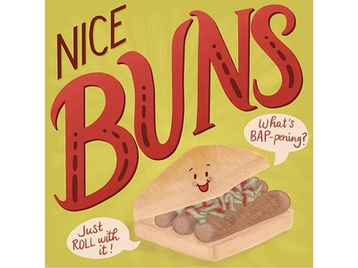 British Food Puns - Sausage Bap Bun illustration