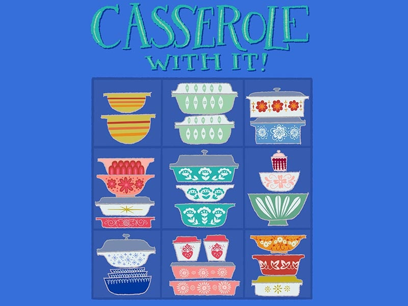Casserole With It Pun Illustration cute art cute pun casserole food pun kitchen pun illustrated pun pun illustration pun cute illustration handlettered lettering handdrawn illustration