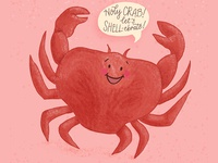Crab Birthday Pun Greeting Card Illustration