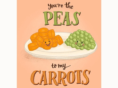 Peas and Carrots Cute Food Pairs Greeting Cards