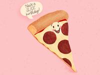 Pizza Pun Birthday Card Illustration