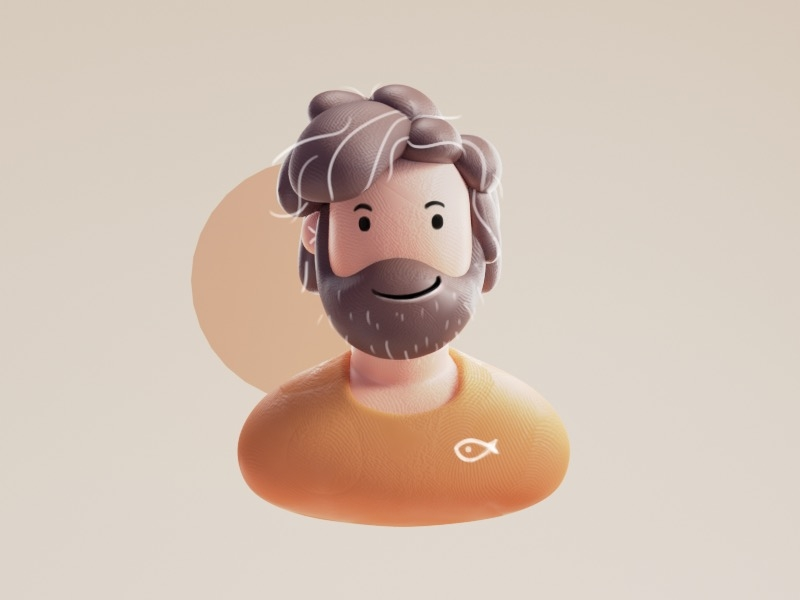 Clay man clay character design color isometric cute lowpoly animation illustration blender 3d