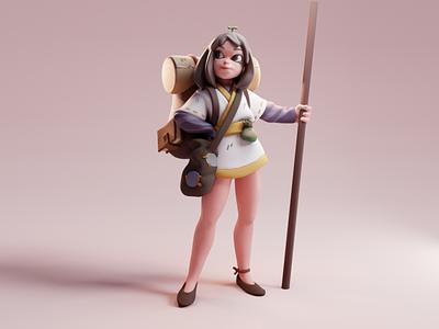 Traveler girl lighting render sculpt character color isometric cute lowpoly illustration blender 3d