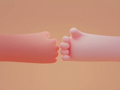 Hi-five 🤜🤛 loop animation hand render design color isometric cute animation lowpoly illustration blender 3d
