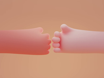 Hi-five 🤜🤛 loop animation hand render design color isometric cute animation lowpoly illustration blender 3d