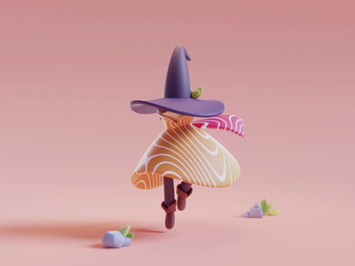 Wake up gif salmon wizard sushi color isometric cute character render design illustration lowpoly animation blender 3d