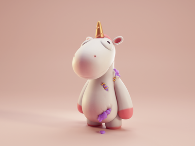Party Animals unicorn isometric fanart character color cute animation lowpoly illustration blender 3d