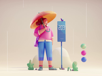 Waiting in the rain loop 2d umbrella pepole girl isometric color rain woman bird cute animation lowpoly illustration blender 3d