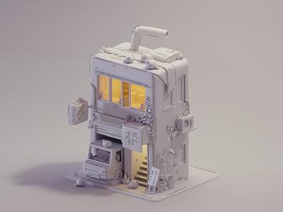 Milk house house building milk 2d design color isometric cute animation lowpoly illustration blender 3d