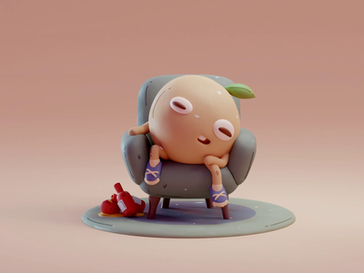 Bad day drink beer 2d character color cute animation lowpoly illustration blender 3d