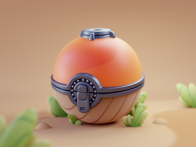 Pokéball pokeball 2d design color isometric cute animation lowpoly illustration blender 3d