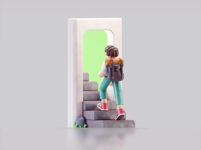 Step-up 2d character color isometric cute animation lowpoly illustration blender 3d