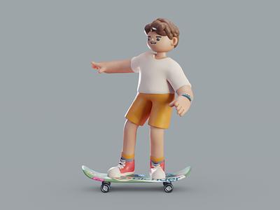 Kick-flip kick-flip skateboard character isometric animation lowpoly illustration blender 2d 3d