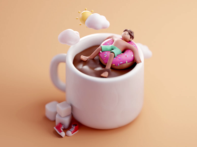 Chill out sun cloud sea mug donut relax chill character design color isometric cute animation lowpoly illustration blender 2d 3d