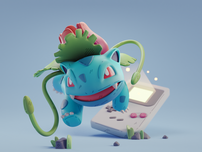 Ivysaur nintendo pokemon character design color isometric cute animation lowpoly illustration blender 3d