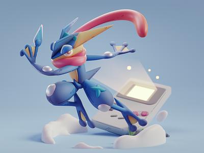 Greninja pokemon character design color isometric cute animation lowpoly illustration blender 2d 3d